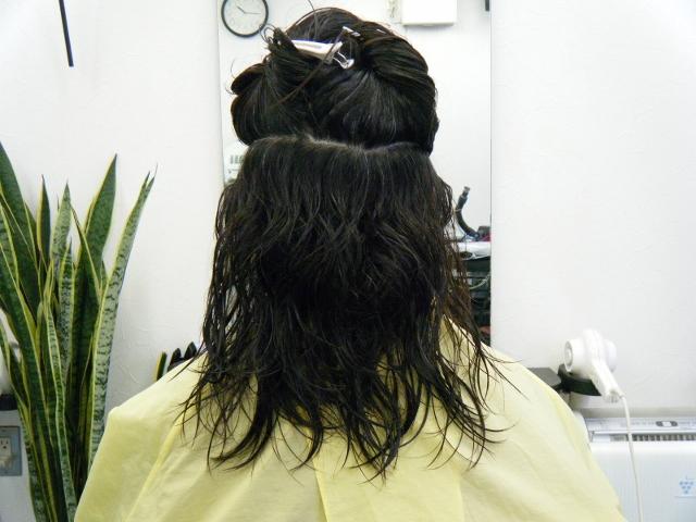 くせ毛のばしとミコノスイオンカールでドライ仕上げ